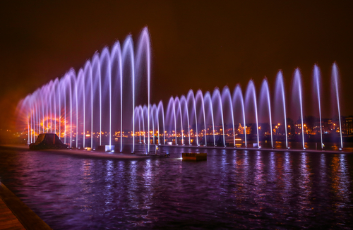 Dancing water fountain during the Amsterdam Light Festival