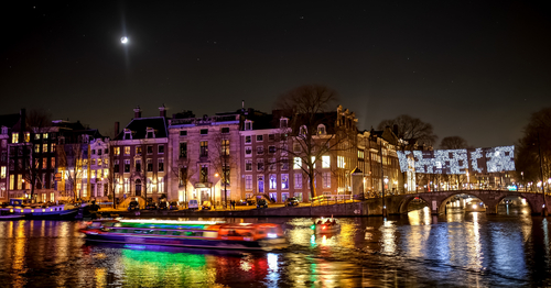 Amsterdam canals during the Light Festival