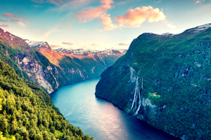 Fjord and waterfall in Norway
