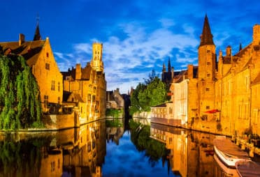Night view of Bruges with the Canal