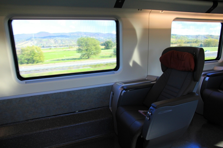 1st class seat in Le Frecce high-speed train
