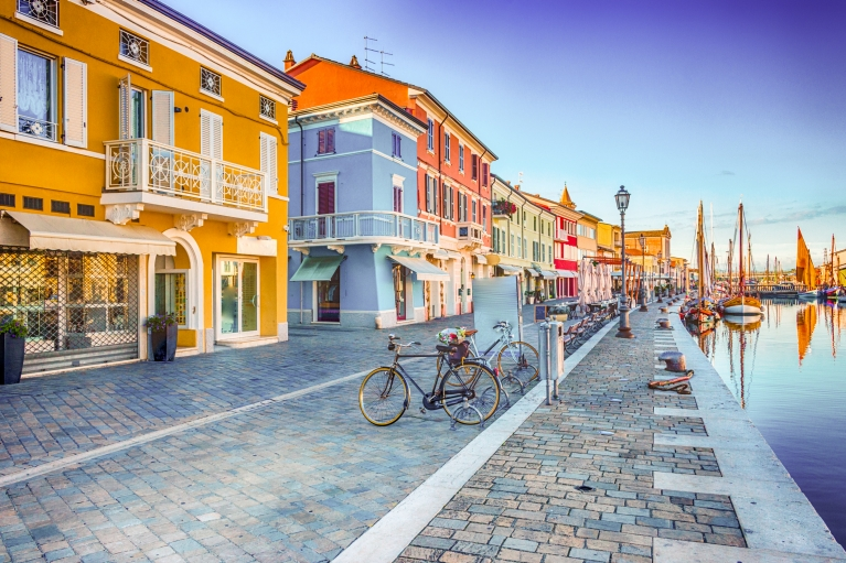 The colorful houses of port town Cesenatico
