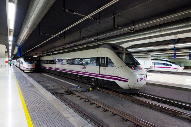 Alvia high-speed train at platform in Barcelona