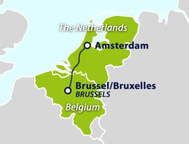 Map with train route Amsterdam to Brussels