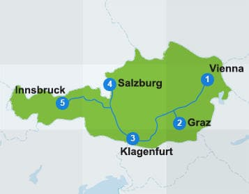Map Austria itinerary