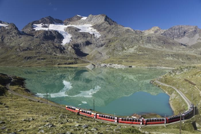 At the highest part of the route, you'll travel beside 3 lakes within the Bernina Mountain pass.