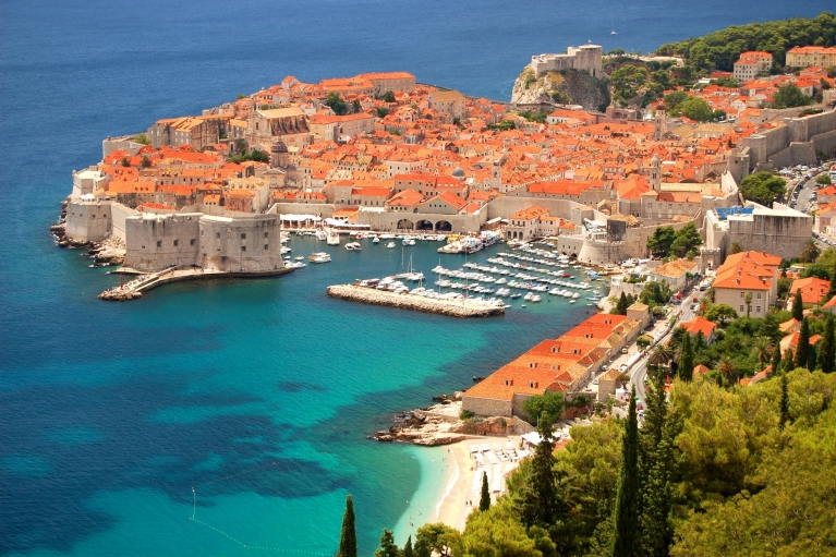 Scenic view of the port of Dubrovnik