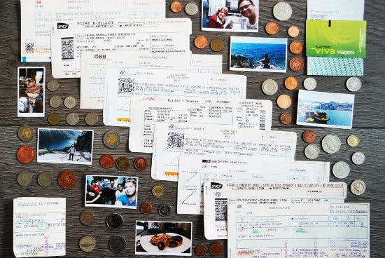 Eurail customer testimonials | Bunch of different national coins, train tickets and beautiful memories in the pictures on the desk