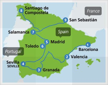 Map with example route in Spain