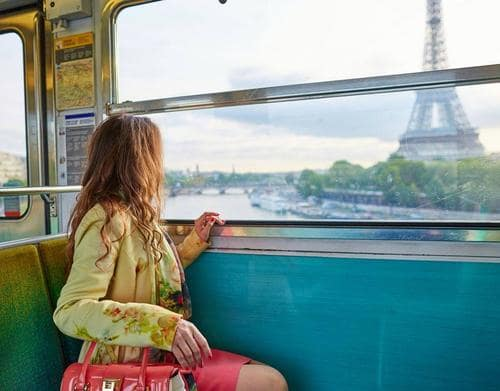 Girl on train in Paris