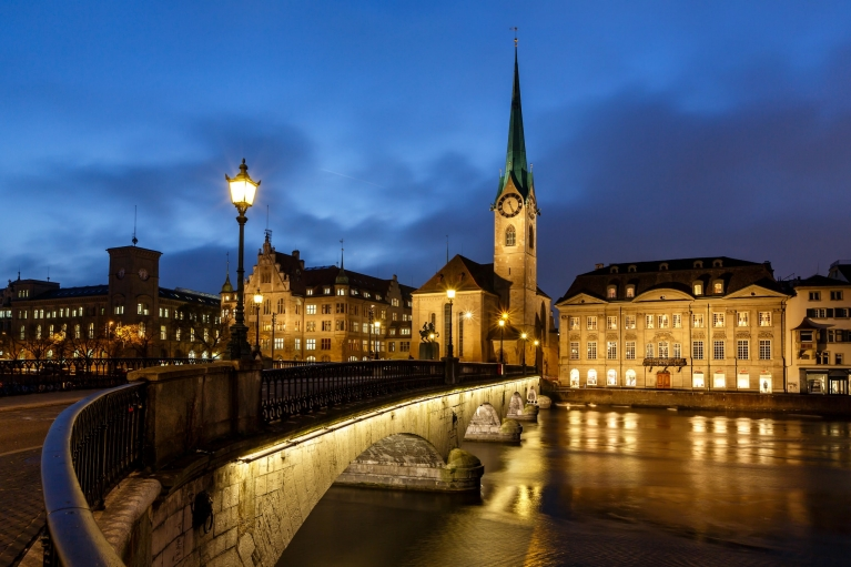 Fraumunster Church and River Limmat, Zurich