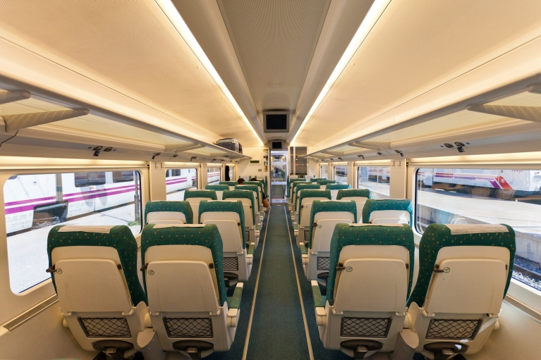 Interior of Alvia high-speed train, tourist class