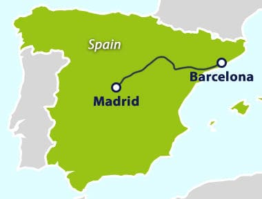 Map with train route between Madrid and Barcelona