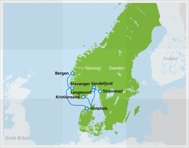 Map with Fjordlines ferry route