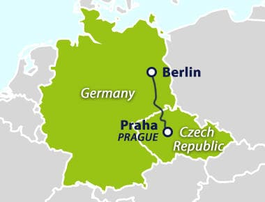 Map with train route Berlin to Prague