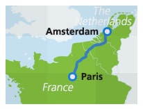 Map with train route Paris to Amsterdam