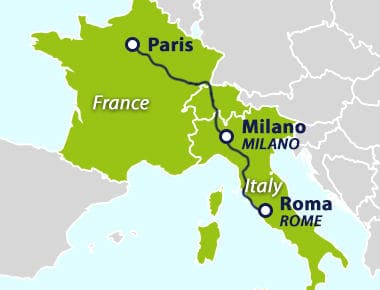Map with route between Paris and Rome
