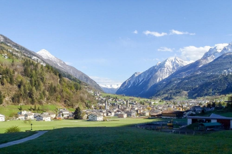 Panorama view of Poschiavo in the southern Swiss Alps