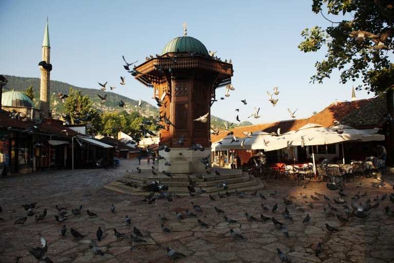 The Sebilj fountain in Sarajevo's bazaar