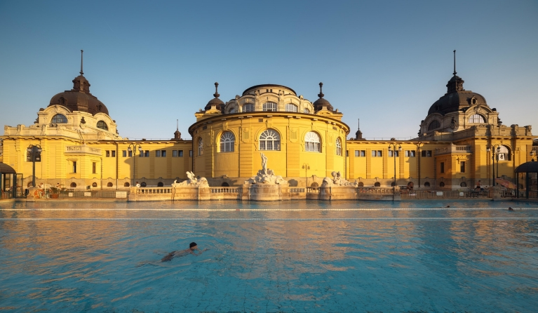 Swimmer in Széchenyi spa baths, Budapest