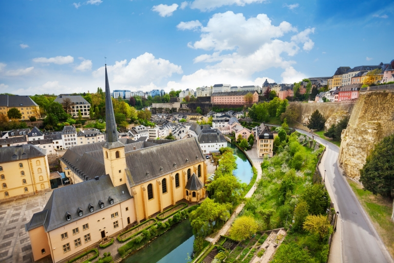 The Alzette River and Grund district of Luxembourg City