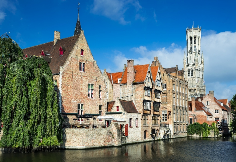 Medieval buildings beside the Dijver Canal, Bruges