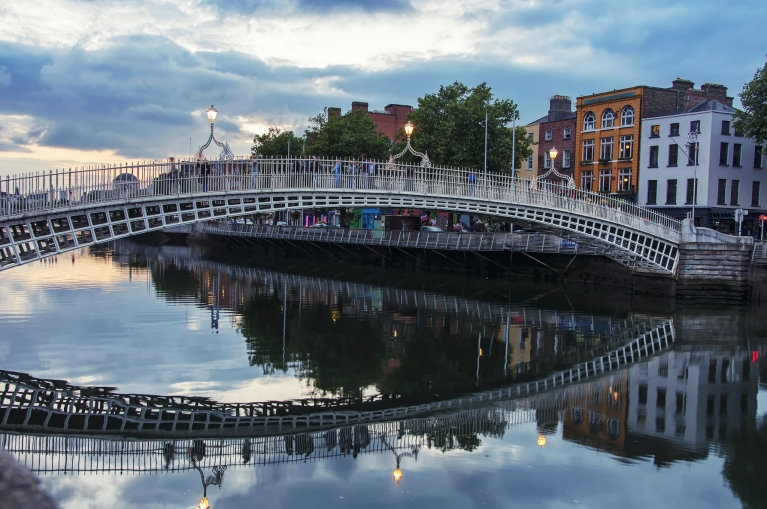 The Ha'Penny Bridge over the River Liffey, Dublin