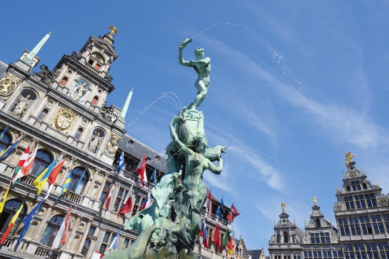 Brabo fountain on the Great Market Square, Antwerp