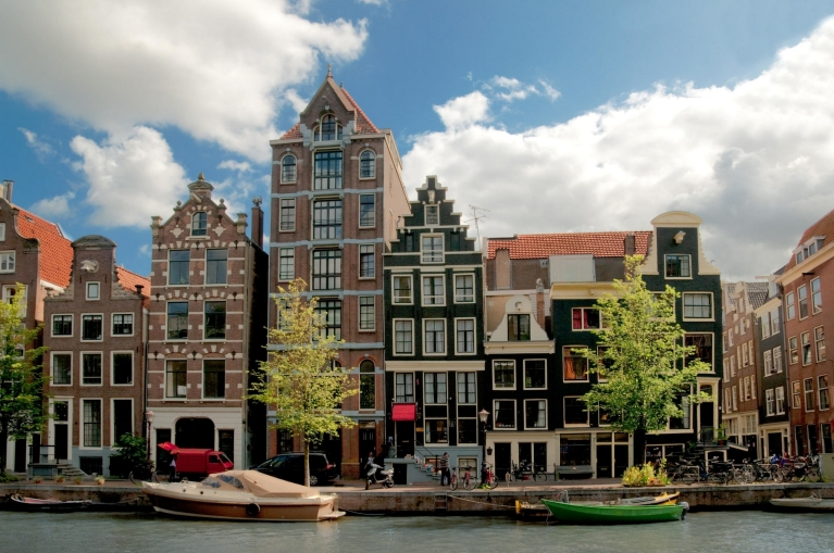 Canal and houses in Amsterdam