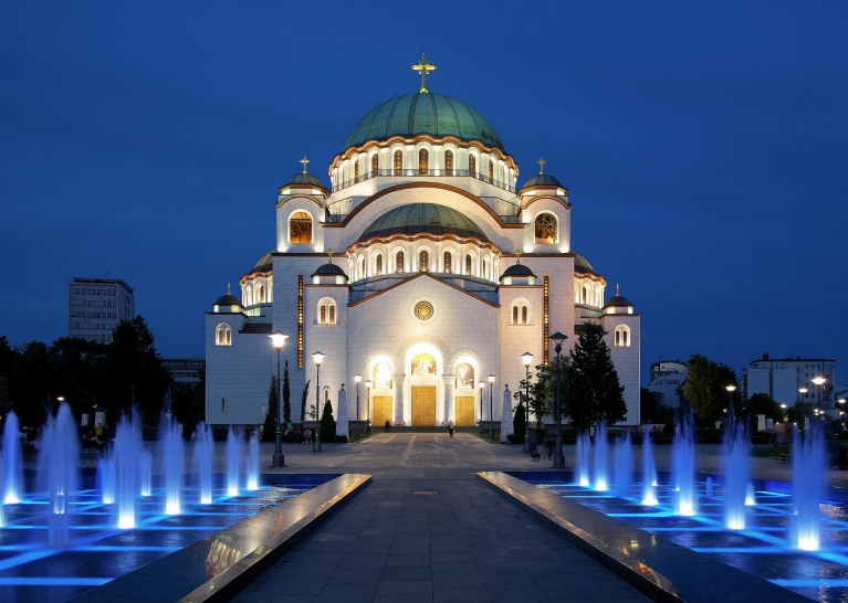 The Church of St. Sava by night