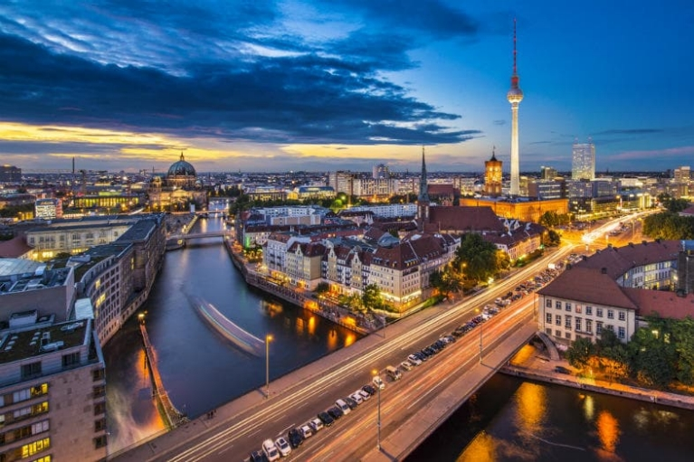 City view of Berlin and the Spree river