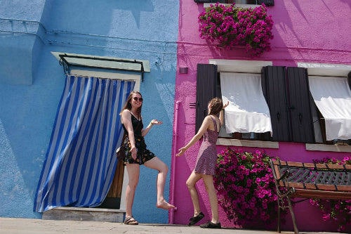 Everything about Eurail | Two girls being silly in Burano, Venice, Italy
