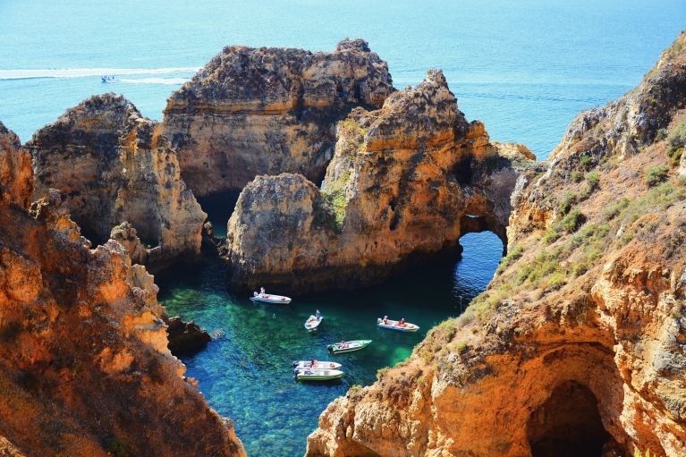 Sea caves and rock formations in Portugal
