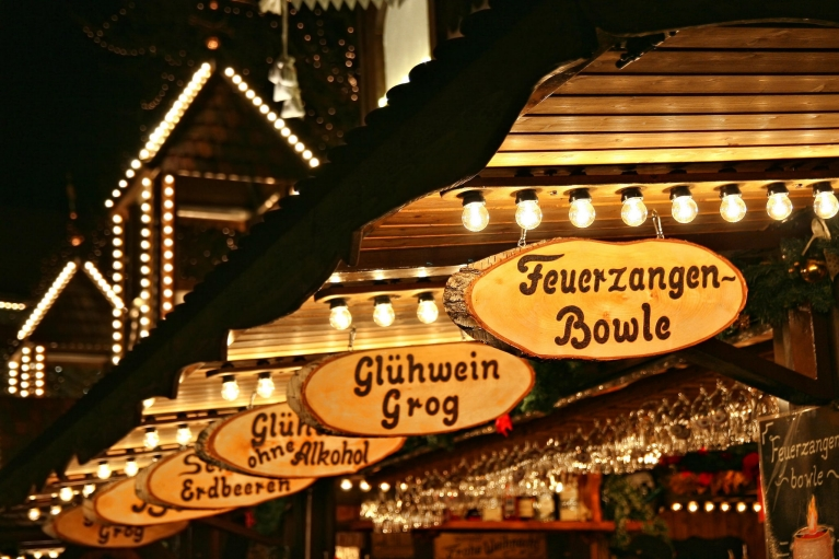 Wooden signs at Hamburg Christmas market