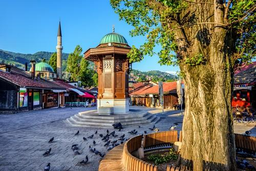 The old fountain at Sarajevo's bazaar in summer
