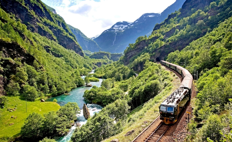 The Flåm Railway in summer
