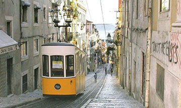 tram-in-lisbon-portugal-hilly-street