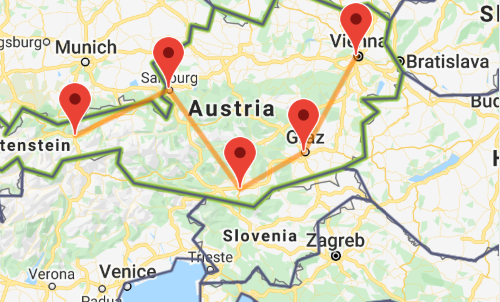 Austria itinerary map