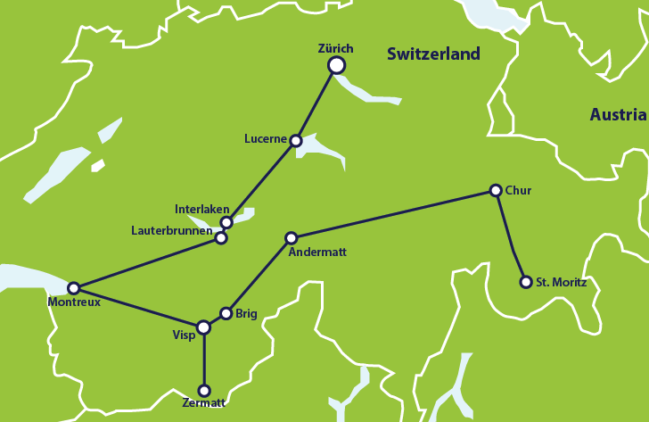 ER 1 week in Switzerland itinerary map