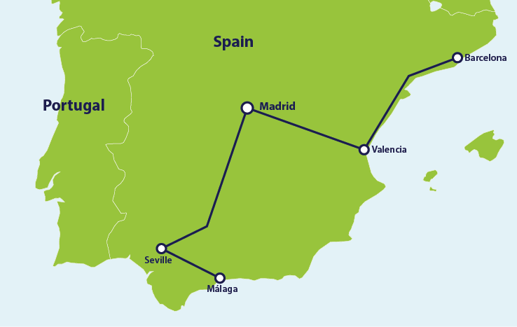 ER Spain itinerary map