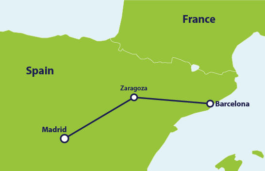 Map with train route Madrid to Barcelona