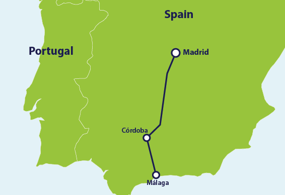 Map with train route Madrid to Málaga