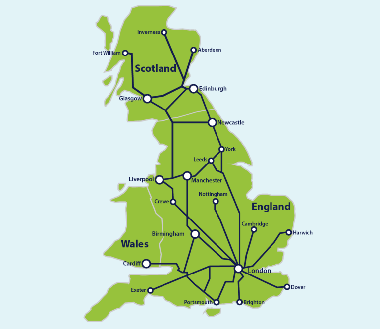 Map of major train routes in Great Britain